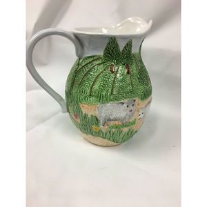 Pacific Rim Hand-Painted Decor Pitcher cow sheep
